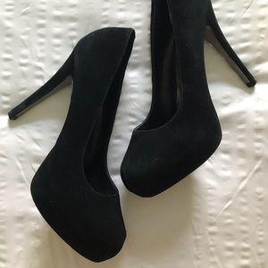 Black Sued Steve Madden Heels
